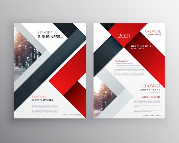 抽象的な赤黒の幾何学的なパンフレットのデザインテンプレート
