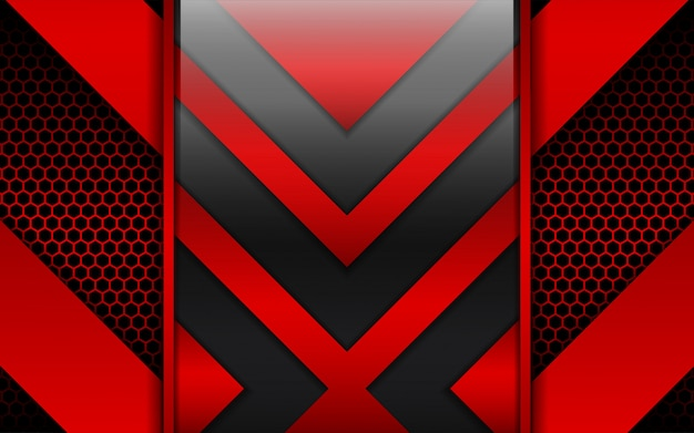 Abstract red and black metal shapes on hexagon background