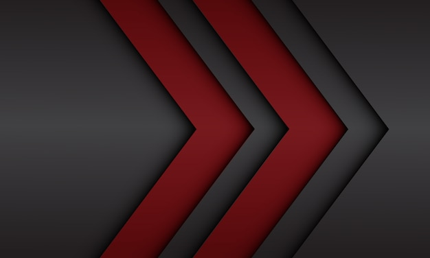 空白のデザインモダンな未来的な背景を持つ抽象的な赤黒メタリック矢印方向