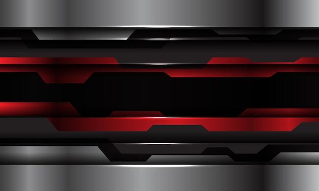 抽象的な赤黒メタリックシルバーサイバーテクノロジー未来的なデザインモダンな背景