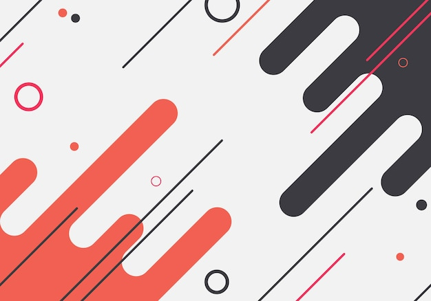 Abstract red and black rounded shape background. vector illustration.