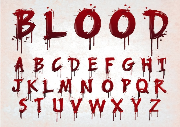 Abstract red blood alphabet.