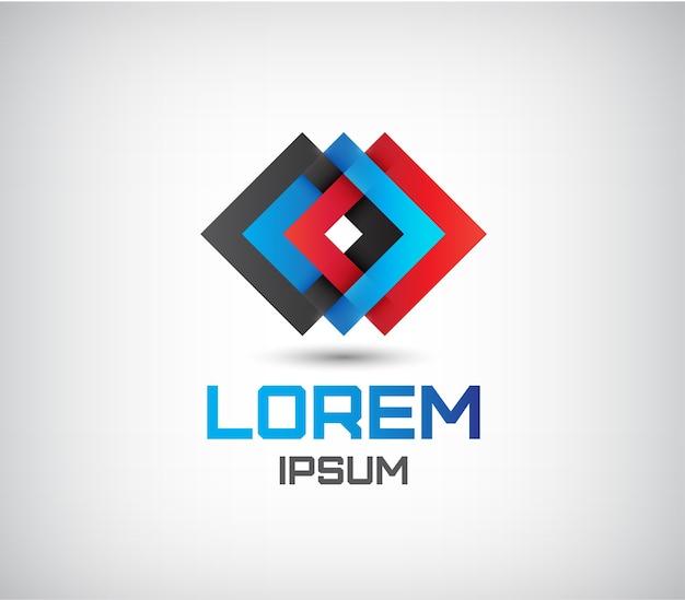 Абстрактный красный, синий и черный ромб тройной значок, логотип изолированные
