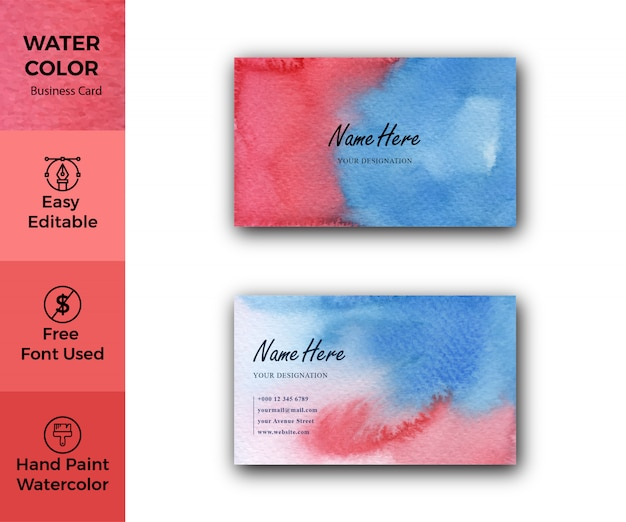 Abstract red and blue watercolor business card