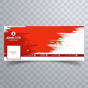 Abstract red brush facebook cover design