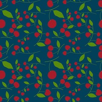 추상 빨간 체리 원활한 패턴 배경입니다. 벡터 일러스트 레이 션.