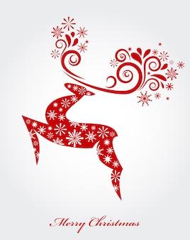雪片パターンの抽象的な赤いクリスマス鹿-ポスター、バナーまたはグリーティングカードのベクトルの背景