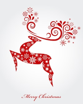 Abstract red christmas deer with snowflakes pattern - vector background for poster, banner or greeting card