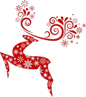 Abstract red christmas deer with snowflakes pattern