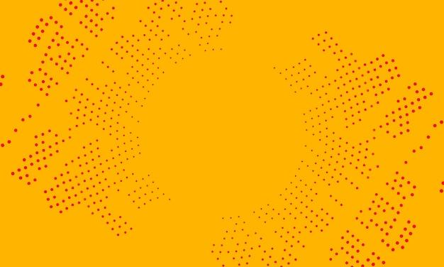 黄色の背景にハーフトーンスタイルの抽象的な赤い円。ウェブサイトのテクスチャのパターン。