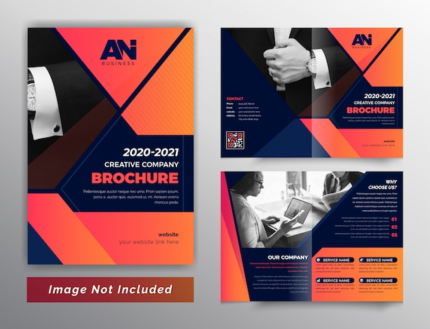Abstract red color bifold business brochure
