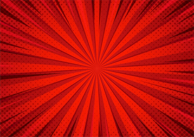 Abstract red comic cartoon style halftone zoom pattern.