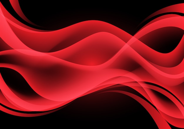 Abstract red curve wave light on black background.