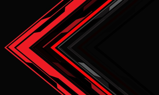 Abstract red cyber arrow direction geometric on grey technology futuristic background vector