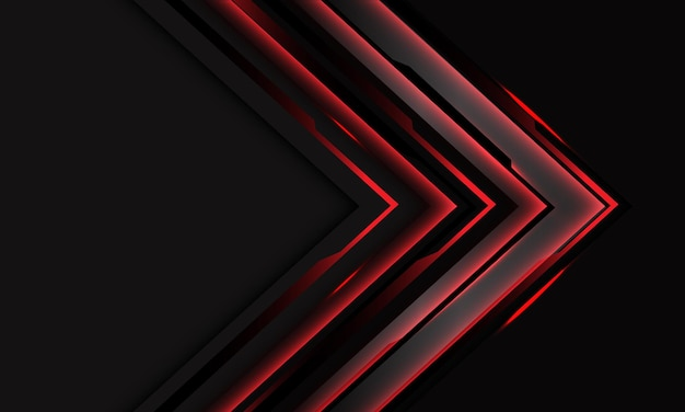 空白のスペースデザインモダンで未来的なダークグレーの抽象的な赤いサイバーブラック回路矢印