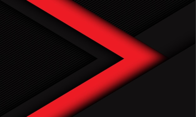 Abstract red dark arrow direction on dark grey lines texture style futuristic technology background
