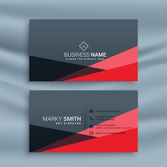 Abstract red and dark gray business card
