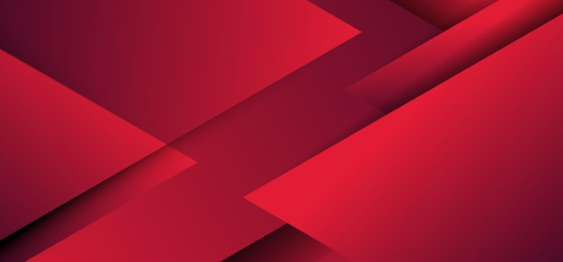 Abstract red geometric triangles overlapping layer paper cut style background.