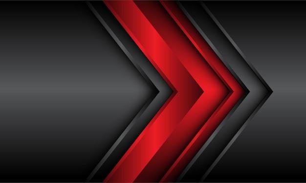 濃い灰色の金属の背景に抽象的な赤い光沢のある矢印の方向。