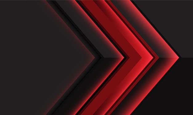 空白のスペースと現代の未来的な抽象的な赤い光沢のあるダークグレーのメタリック矢印の方向
