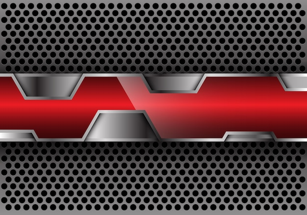 Abstract red glossy silver polygon overlap