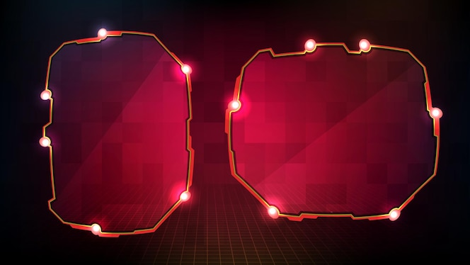 Abstract red glowing sci fi frame hud