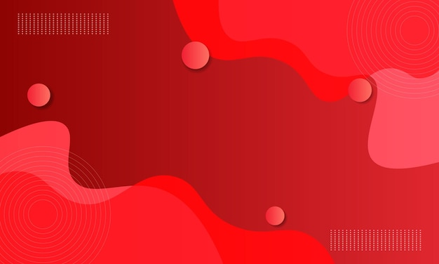 Abstract red gradient fluid with wave and circle shape background