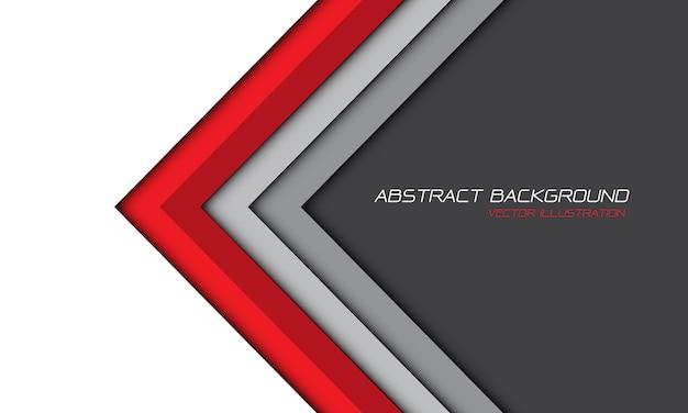 抽象的な赤灰色矢印白空白スペースデザイン現代の未来的な背景ベクトルイラスト。