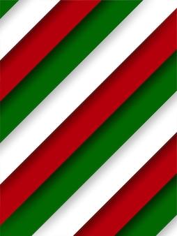概要。赤緑のオーバーラップ形状の背景。クリスマスのテーマ。色。