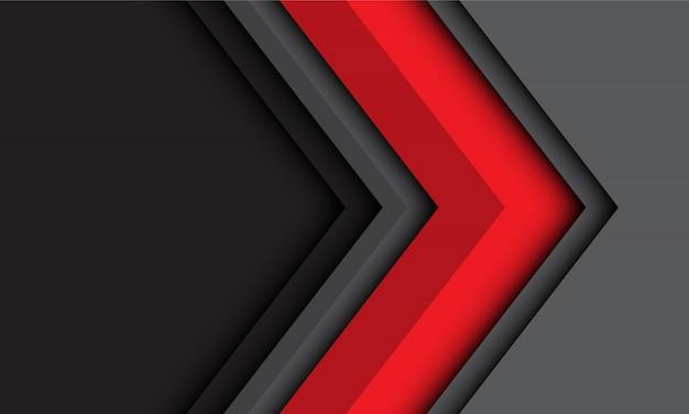 現代の未来技術の背景で抽象的な赤灰色の矢印の方向。