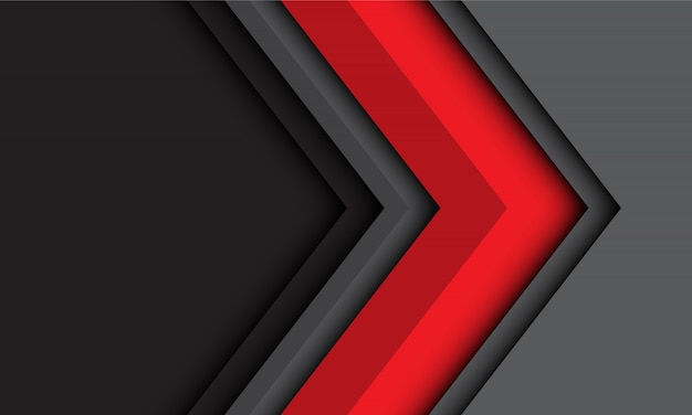 Abstract red grey arrow direction in modern futuristic technology background.