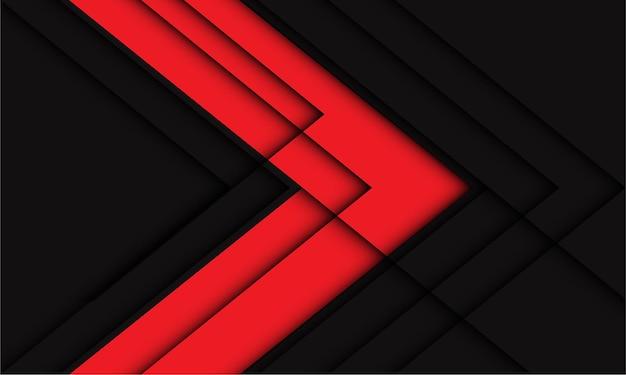 抽象的な赤灰色の矢印幾何学的な線の影の方向現代の未来的な背景