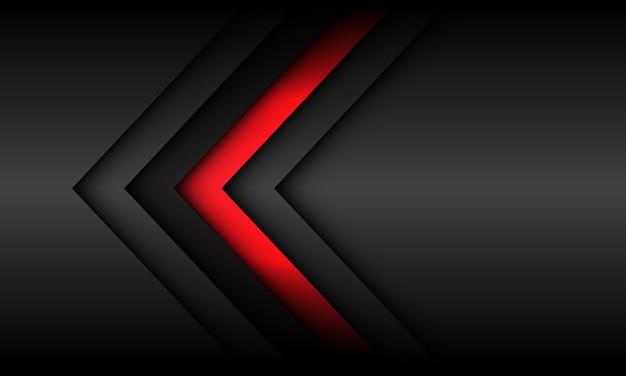 空白のスペースで抽象的な赤灰色の矢印の影の方向現代の未来的な技術の背景