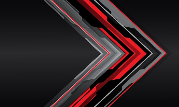 抽象的な赤灰色のサイバー矢印の方向は、空白のスペースモダンな未来的な背景を持つダークグレーのメタリックにオーバーラップします