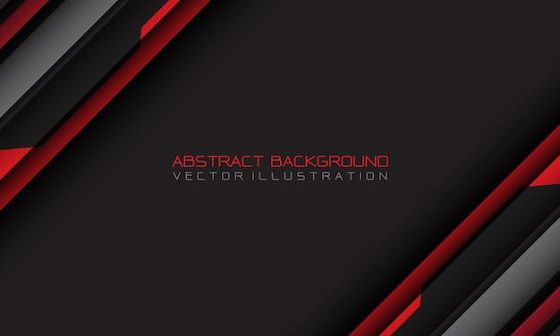 空白のスペースとテキストデザインのモダンで未来的な背景を持つ抽象的な赤灰色のサイバー幾何学的スラッシュ
