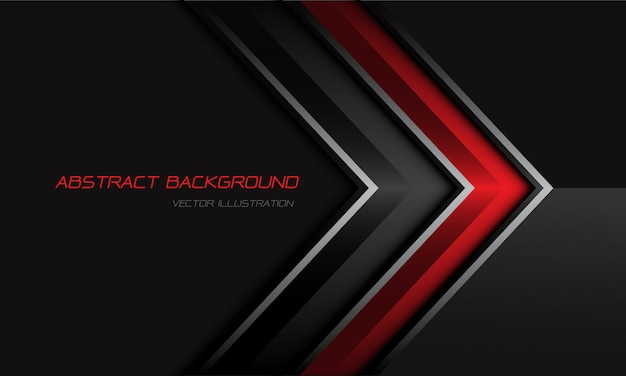 Abstract red grey metallic arrow direction on dark design modern futuristic background.
