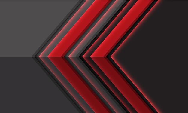 空白のスペースデザインモダンな豪華さと幾何学的な抽象的な赤灰色の金属矢印方向