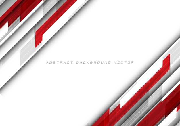 Abstract red grey polygon on white blank space design