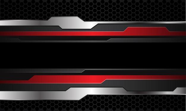 抽象的な赤灰色銀サイバーブラックライン六角形メッシュパターンデザイン現代の未来的な技術