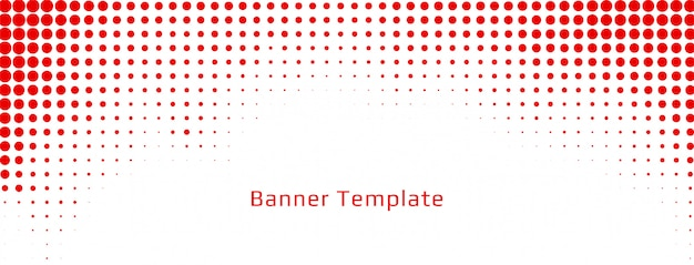 Abstract red halftone white banner design