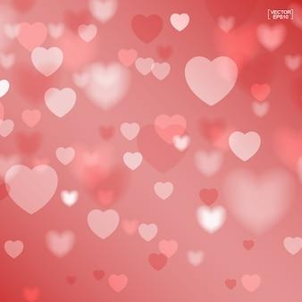 バレンタインの背景の抽象的な赤いハート