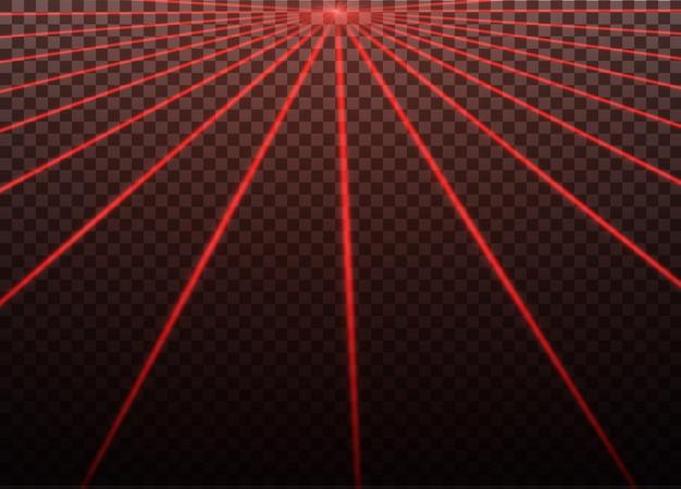 Абстрактный красный лазерный луч. прозрачный, изолированные на черном фоне. иллюстрация. эффект освещения. направленный свет