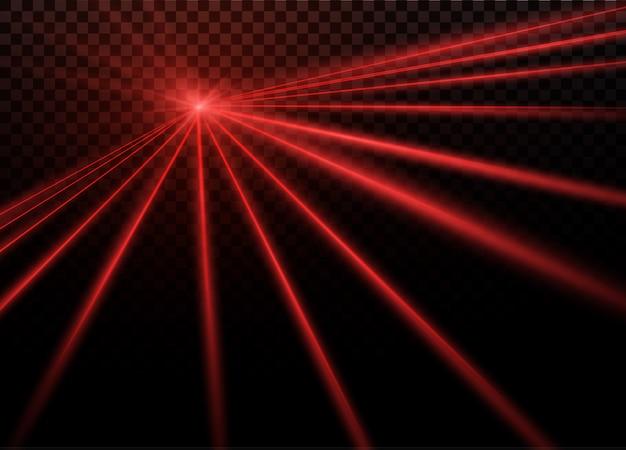 抽象的な赤いレーザービーム。黒の背景に透明