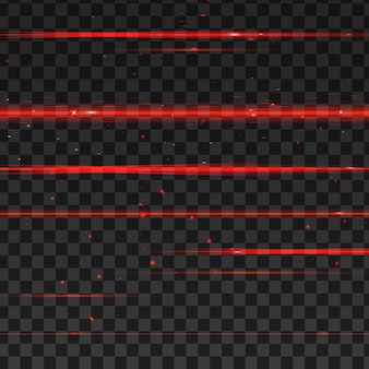 Abstract red laser beams.  on transparent black background.
