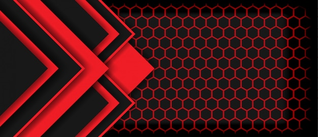 Abstract red light arrow black with hexagon luxury futuristic technology background