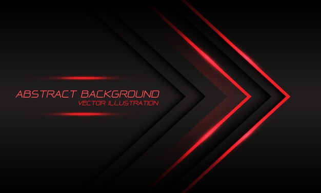 Abstract red light arrow direction on dark grey luxury futuristic background.