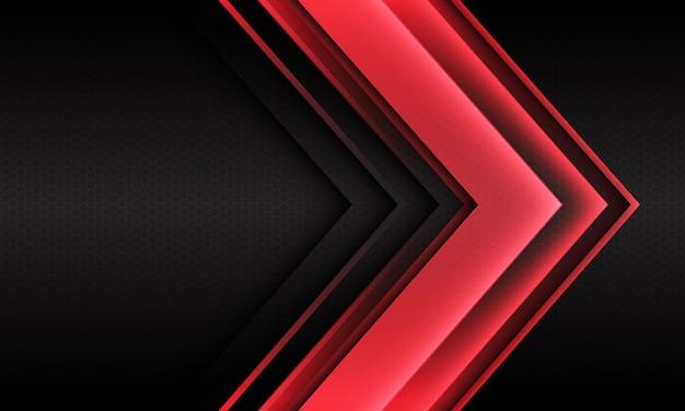 Abstract red light arrow direction geometric hexagon mesh design modern futuristic background