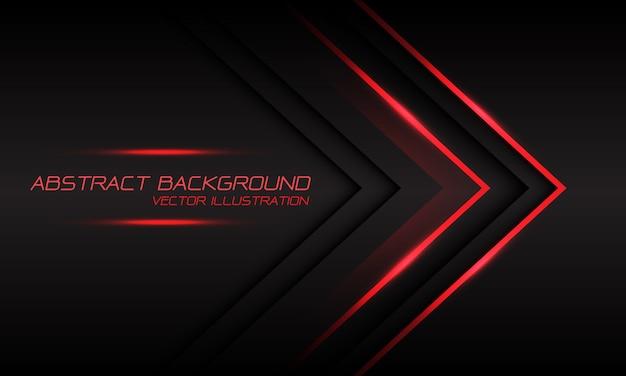 暗い灰色の豪華な未来的な背景に抽象的な赤い光の矢印の方向。