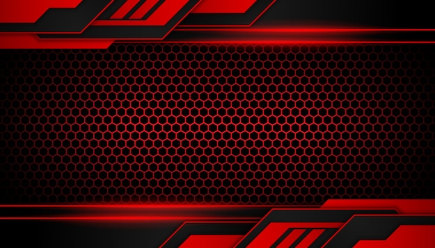Abstract red light geometric shapes on hexagon dark background