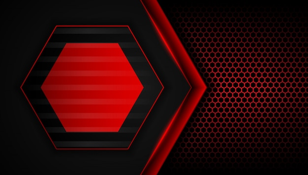 Abstract red light on hexagon dark background